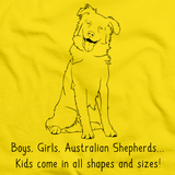 Boys, Girls, & Australian Shepherds = Kids Yellow art preview