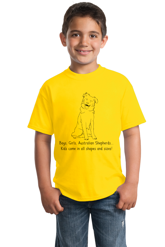 Youth Yellow Boys, Girls, & Australian Shepherds = Kids - Aussie Dog Lover T-shirt