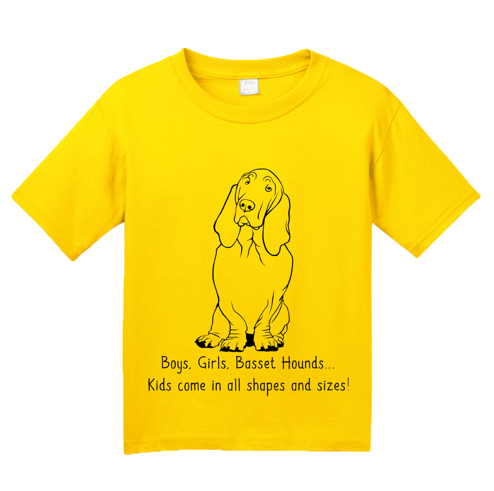 Youth Yellow Boys, Girls, & Basset Hounds = Kids - Basset Hound Family Lover T-shirt