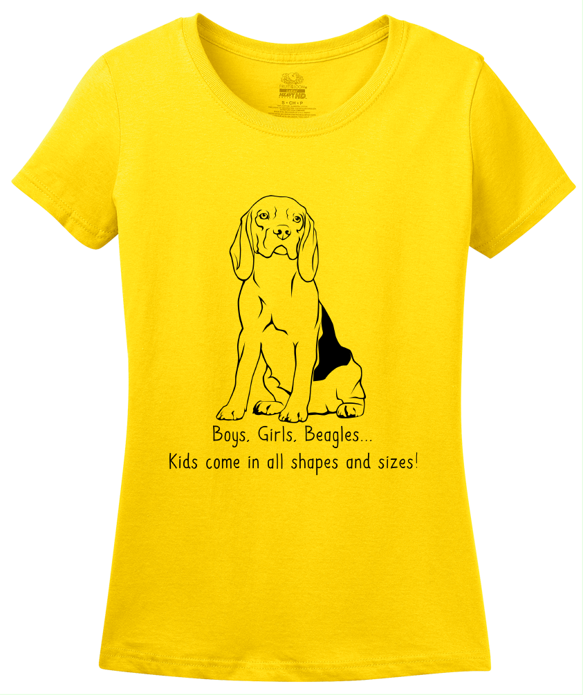 Ladies Yellow Boys, Girls, & Beagles - Beagle Parents Dog Lover Kids Funny T-shirt