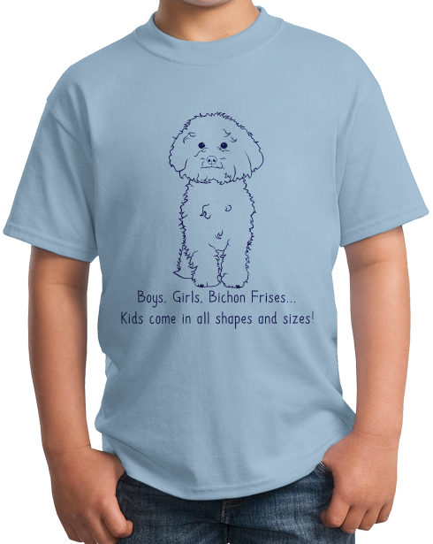 Youth Light Blue Boys, Girls, & Bichon Frises = Kids - Bichon Frises Parent Owner T-shirt