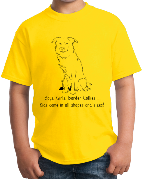 Youth Yellow Boys, Girls, & Border Collies = Kids - Border Collie Parent Dog T-shirt