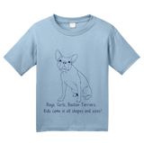 Youth Light Blue Boys, Girls, & Boston Terriers = Kids - Boston Terrier Parent T-shirt