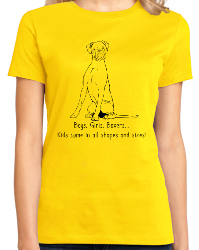 Ladies Yellow Boys, Girls, & Boxers = Kids - Boxers Dog Parents Lover Gift Pet T-shirt