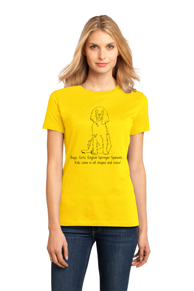 Ladies Yellow Boys, Girls, & English Springer Spaniels = Kids - Dog Parents T-shirt