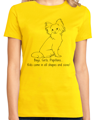 Ladies Yellow Boys, Girls, & Papillons = Kids - Papillon Dog Lover Parent T-shirt