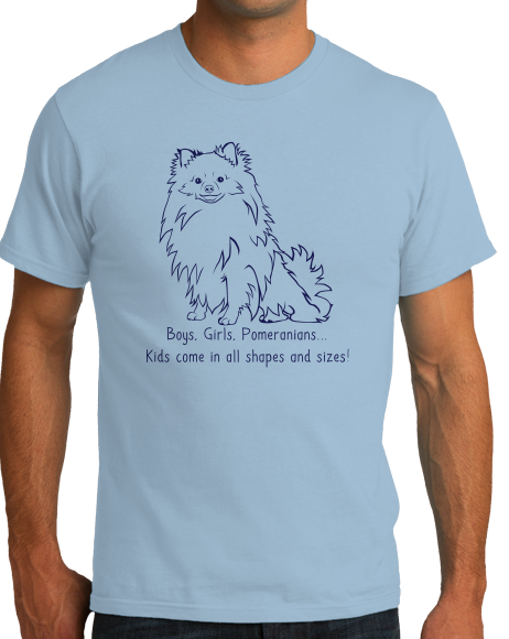 Standard Light Blue Boys, Girls, & Pomeranians = Kids - Pomeranian Boo Cute Parent T-shirt