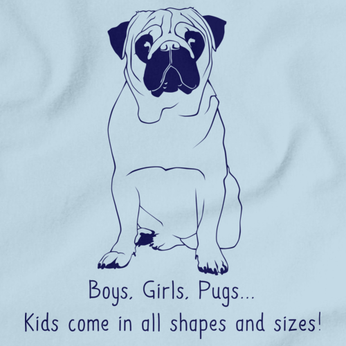 BOYS, GIRLS, & PUGS = KIDS Light blue Art Preview