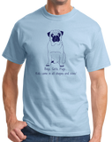 Standard Light Blue Boys, Girls, & Pugs = Kids - Pug Parent Owner Lover Cute Funny T-shirt