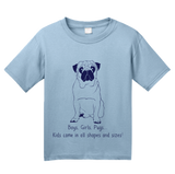 Youth Light Blue Boys, Girls, & Pugs = Kids - Pug Parent Owner Lover Cute Funny T-shirt