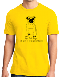Standard Yellow Boys, Girls, & Pugs = Kids - Pug Parent Owner Lover Cute Funny T-shirt