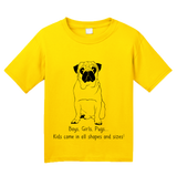 Youth Yellow Boys, Girls, & Pugs = Kids - Pug Parent Owner Lover Cute Funny T-shirt