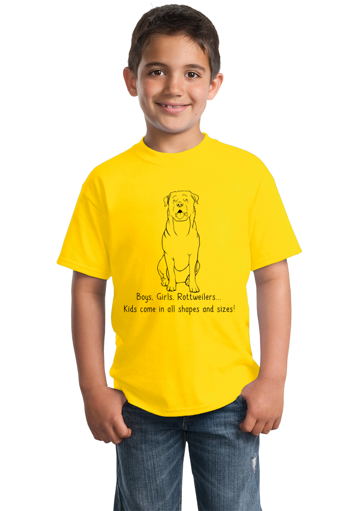 Youth Yellow Boys, Girls, & Rottweilers - Rottweiler Parent Owner Lover Dog T-shirt