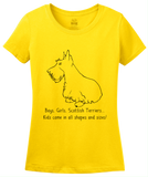 Ladies Yellow Boys, Girls, & Scottish Terriers = Kids - Scottish Terrier T-shirt