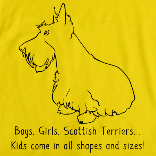 BOYS, GIRLS, & SCOTTISH TERRIERS = KIDS Yellow Art Preview