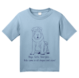 Youth Light Blue Boys, Girls, & Shar-Peis = Kids - Shar-Pei Owner Lover Parent T-shirt