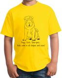 Youth Yellow Boys, Girls, & Shar Peis = Kids - Shar-Pei Owner Lover Parent T-shirt