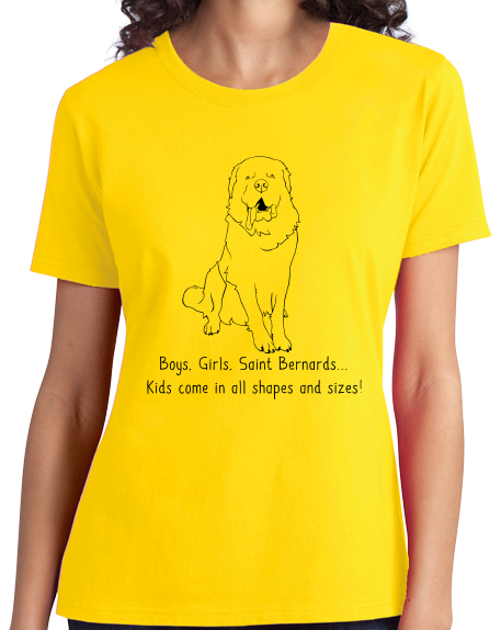 Ladies Yellow Boys, Girls, & Saint Bernards = Kids - St. Bernard Parent Owner T-shirt