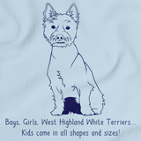 BOYS, GIRLS, & WEST HIGHLAND WHITE TERRIERS = KIDS Light blue Art Preview