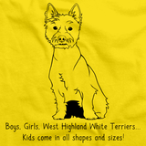 BOYS, GIRLS, & WEST HIGHLAND WHITE TERRIERS = KIDS Yellow Art Preview