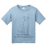 Youth Light Blue Boys, Girls, & Whippets = Kids - Whippet Owner Lover Parent Cute T-shirt