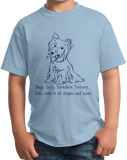 Youth Light Blue Boys, Girls, & Yorkies - Yorkie Parent Owner Lover Cute Funny T-shirt