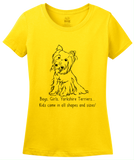 Ladies Yellow Boys, Girls, & Yorkies - Yorkie Parent Owner Lover Cute Funny T-shirt