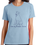 Ladies Light Blue I Love my Airedale Terrier - Airedale Owner Lover Dog Breed Cute T-shirt