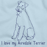 I Love My Airedale Terrier Light blue Art Preview