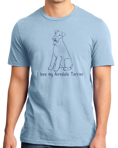 Standard Light Blue I Love my Airedale Terrier - Airedale Owner Lover Dog Breed Cute T-shirt
