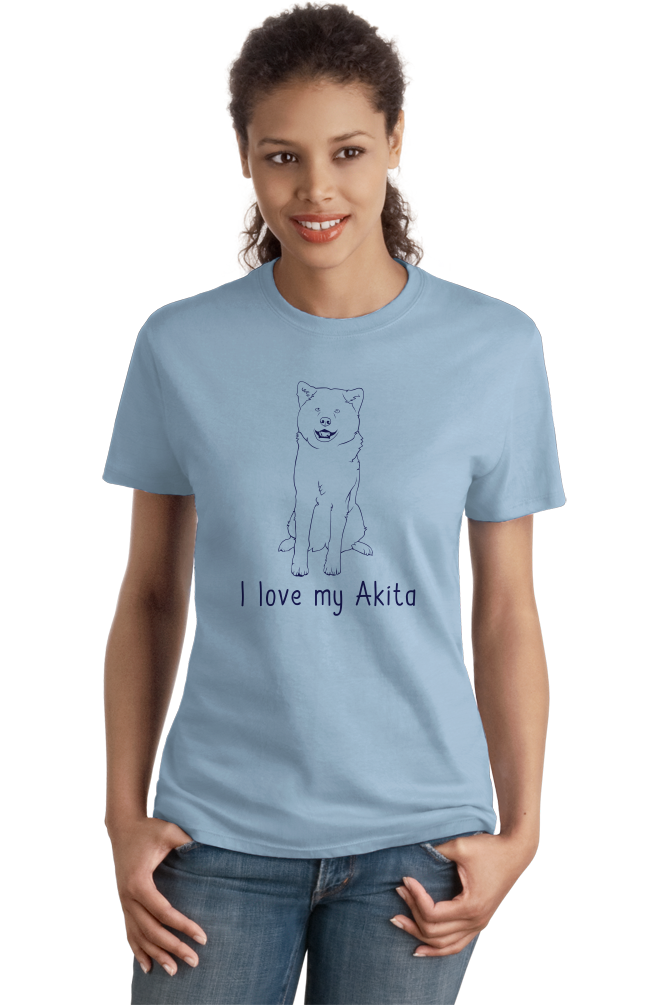 Ladies Light Blue I Love my Akita - Akita Dog Breed Owner Parent Lover Cute Fun T-shirt