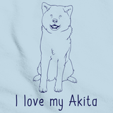 I Love My Akita Light blue Art Preview