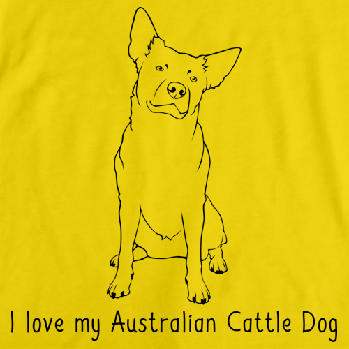 I Love My Australian Cattle Dog Yellow Art Preview