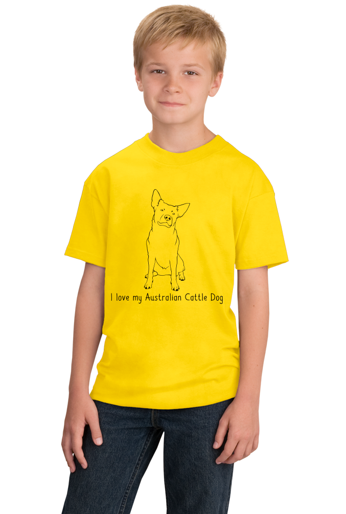 Youth Yellow I Love my Australian Cattle Dog - Cattle Dog Owner Lover Cute T-shirt