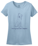 Ladies Light Blue I Love my Australian Shepherd - Aussie Love Owner Parent Cute T-shirt