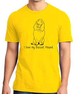 Standard Yellow I Love my Basset Hound - Basset Hound Love Dog Owner Parent Cute T-shirt