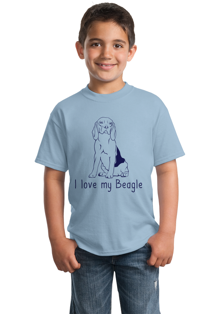 Youth Light Blue I Love my Beagle - Beagle Love Dog Owner Parent Cute Snoopy Fun T-shirt