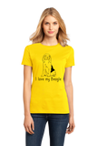 Ladies Yellow I Love my Beagle - Beagle Love Dog Owner Parent Cute Snoopy Fun T-shirt