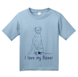 Youth Light Blue I Love my Boxer - Boxer Dog Breed Owner Lover Parent Cute Unique T-shirt