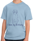 Youth Light Blue I Love my Brittany - Brittany Owner Hunting Love Parent Cute Dog T-shirt