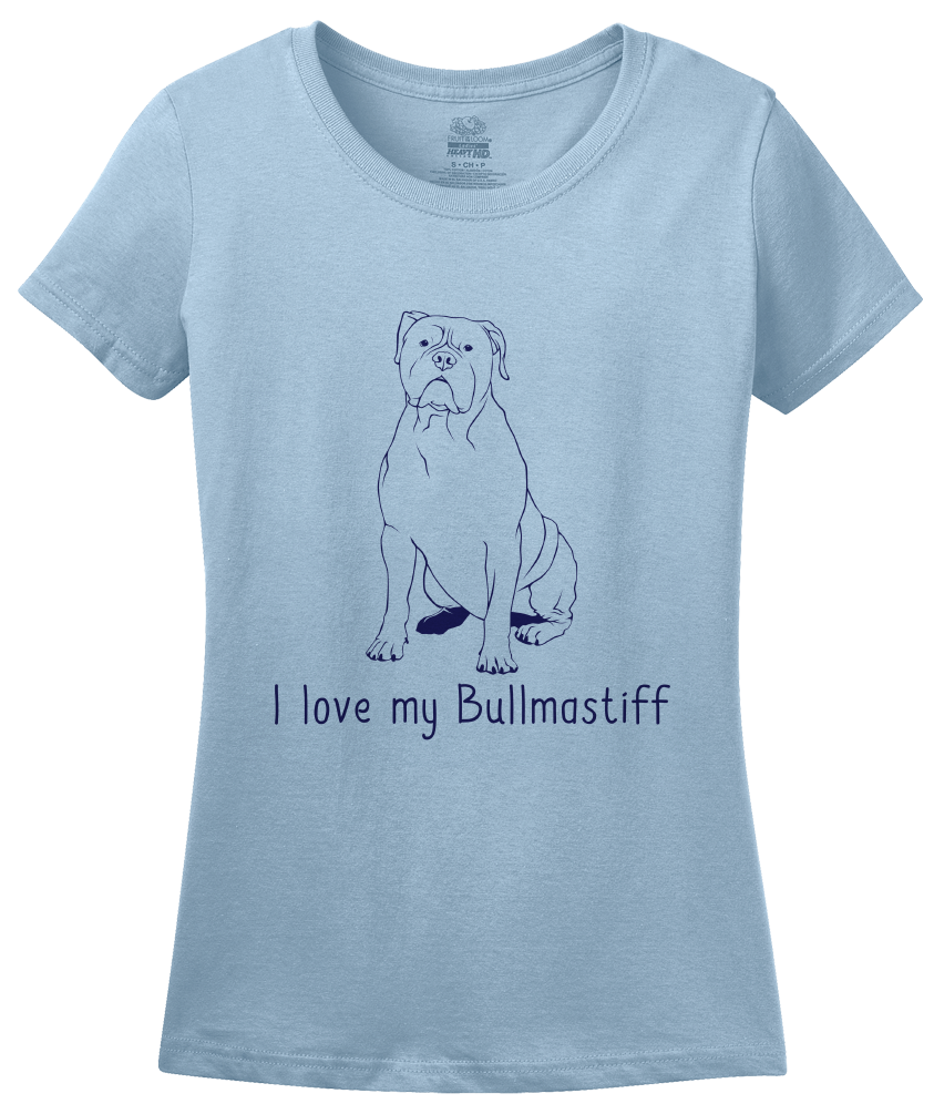 Ladies Light Blue I Love my Bullmastiff - Bullmastiff Breed Owner Dog Lover Cute T-shirt
