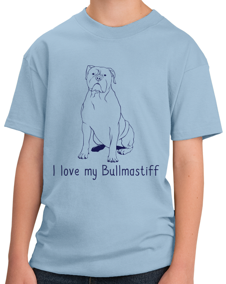 Youth Light Blue I Love my Bullmastiff - Bullmastiff Breed Owner Dog Lover Cute T-shirt