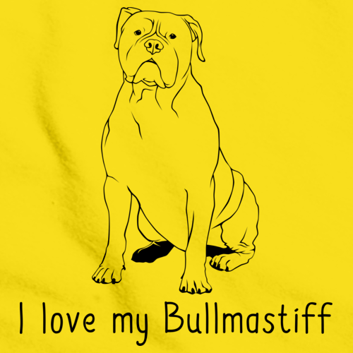 I Love My Bullmastiff Yellow Art Preview