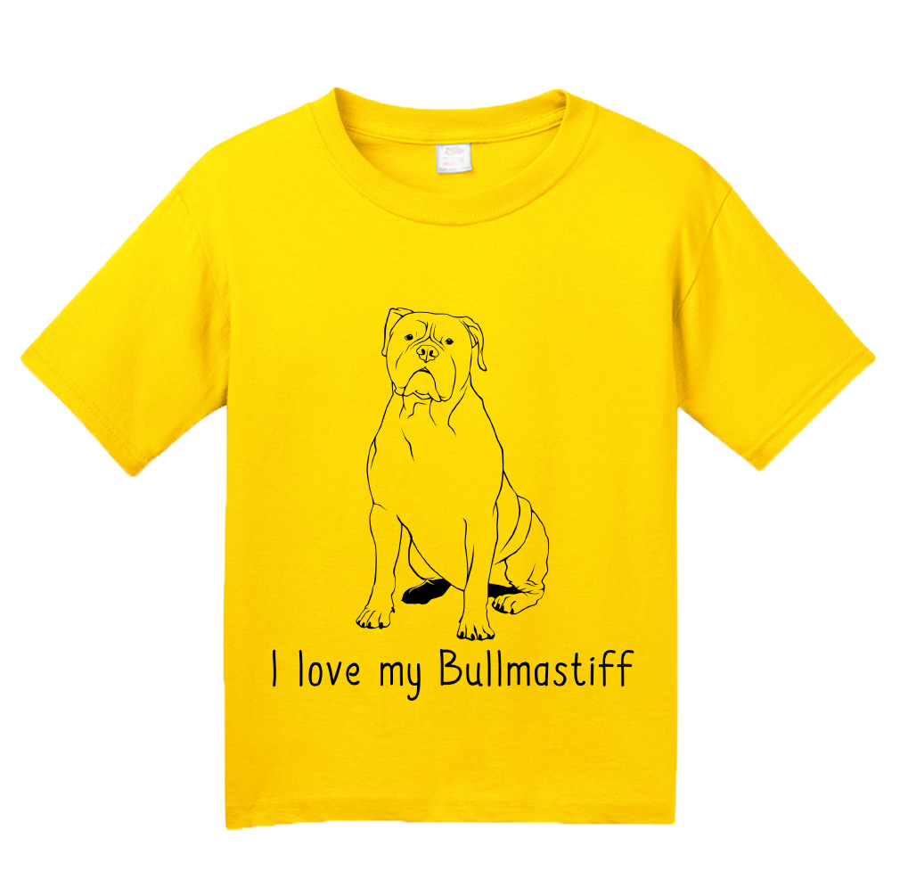 Youth Yellow I Love my Bullmastiff - Bullmastiff Breed Owner Dog Lover Cute T-shirt