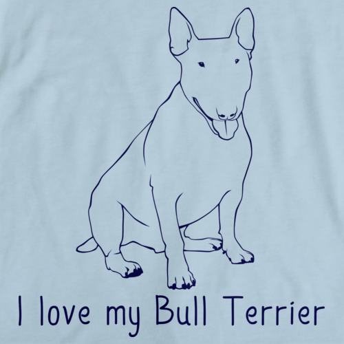 I Love My Bull Terrier Light blue Art Preview
