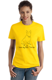 Ladies Yellow I Love my Bull Terrier - Bull Terrier Dog Lover Owner Parent Fun T-shirt