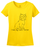 Ladies Yellow I Love my Cairn Terrier - Cairn Terrier Dog Lover Owner Cute T-shirt