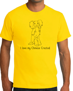 Standard Yellow I Love my Chinese Crested - Chinese Crested Dog Lover Owner Cute T-shirt