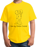 Youth Yellow I Love my Chinese Crested - Chinese Crested Dog Lover Owner Cute T-shirt
