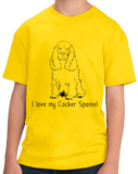 Youth Yellow I Love my Cocker Spaniel - Cocker Spaniel Dog Lover Owner Cute T-shirt